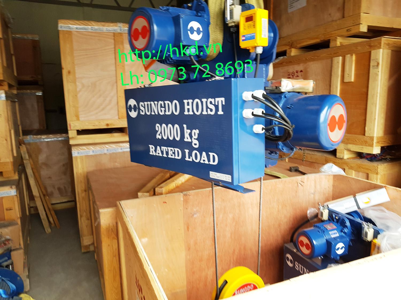 Palang cáp điện SungDo 2 tấn dầm đơn