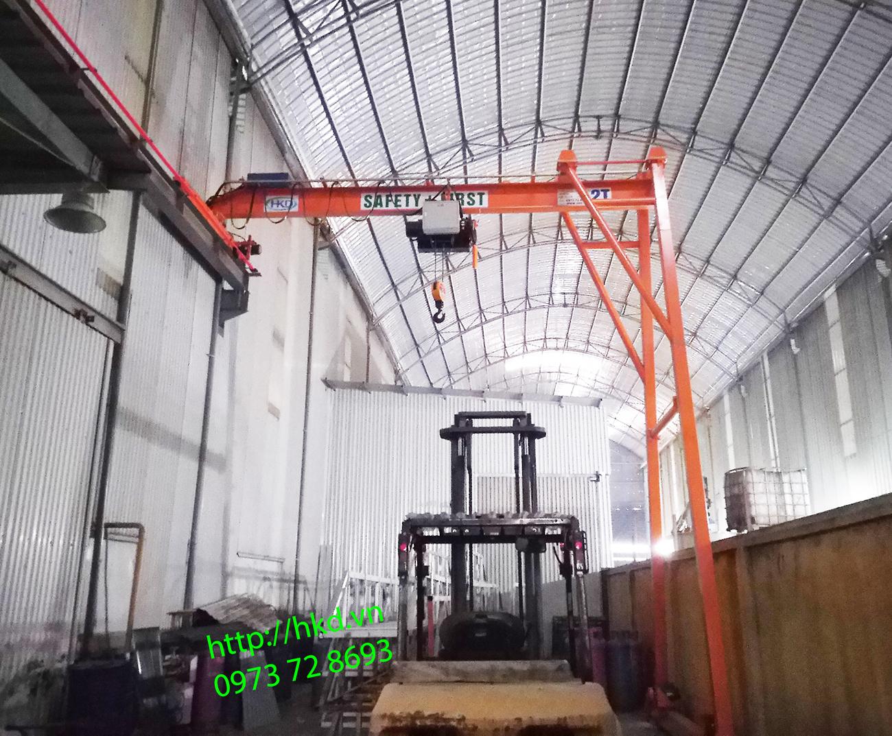 Bán cổng trục 2 tấn dầm đơn khẩu độ ngắn 7 mét