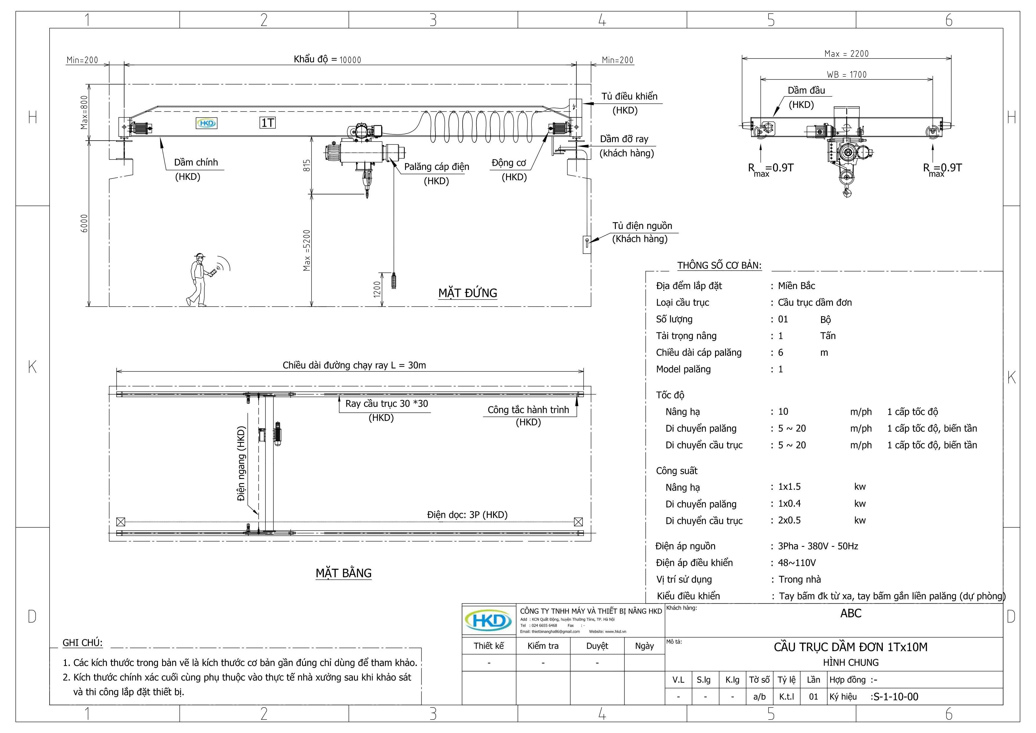 Bản vẽ cầu trục dầm đơn 1 tấn tại HKD