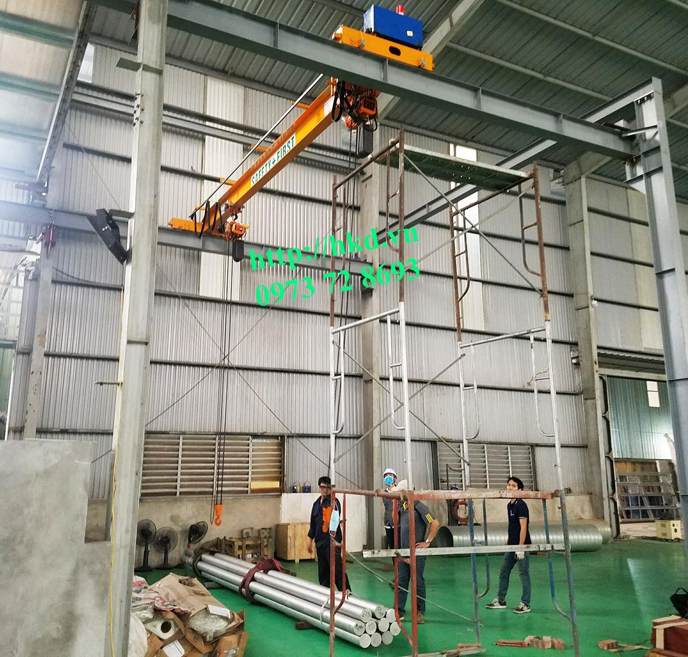 Cầu trục 1 tấn sử dụng Pa lăng xích điện HKD