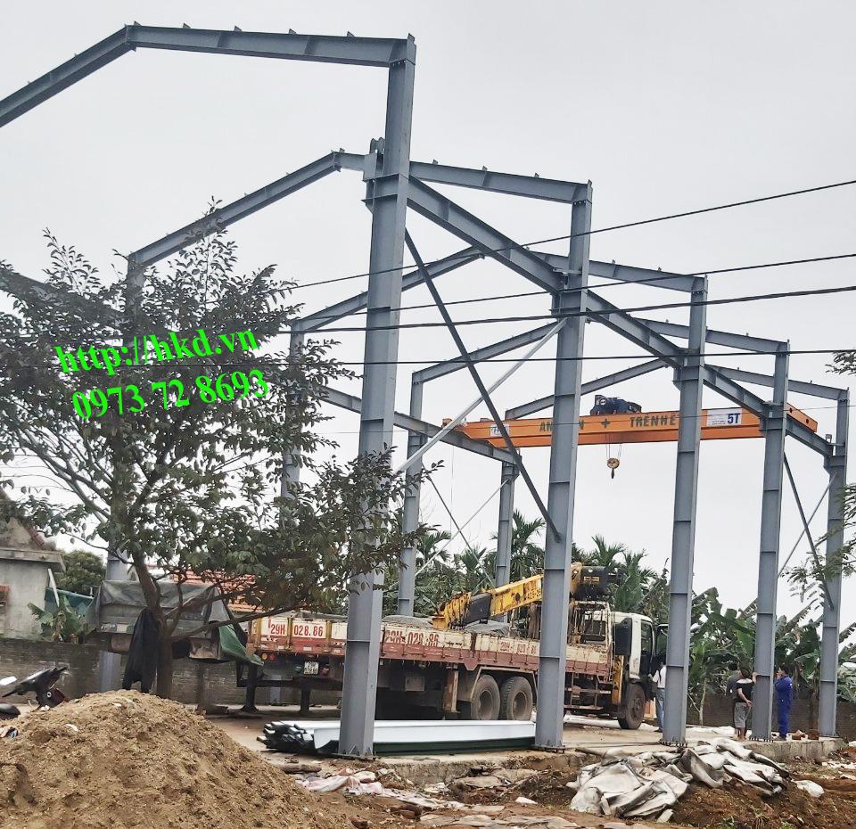 Nhà xưởng lắp cầu rục 5 tấn trọn bộ