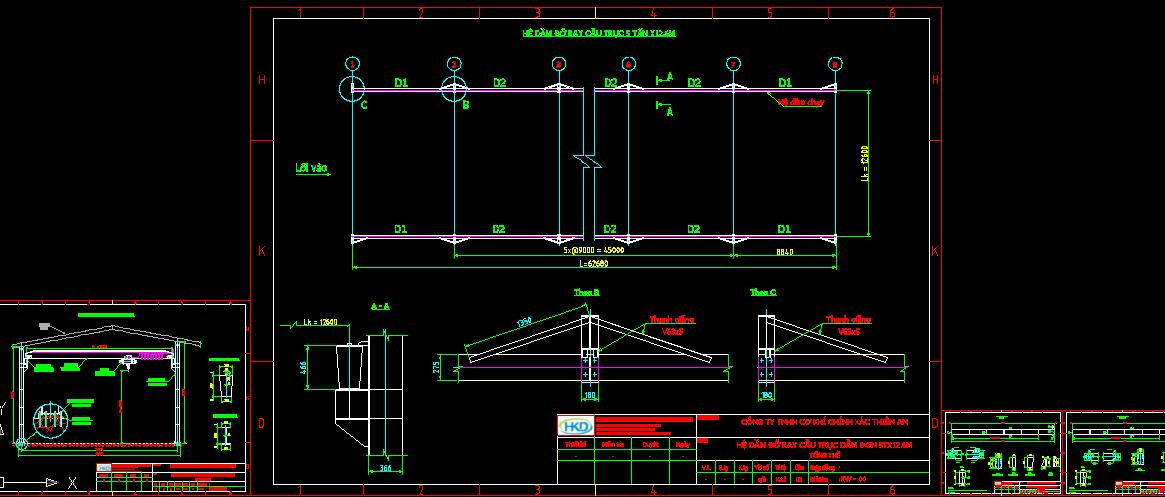Bản vẽ thiết kế hệ khung dầm chạy cầu trục đơn
