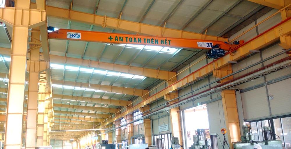 Cầu trục dầm đơn 3 tấn sử dụng Pa lăng điện Hàn Quốc
