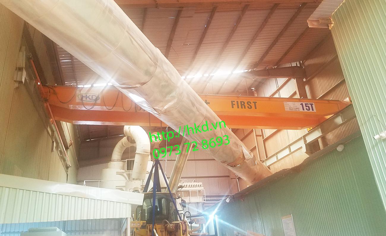 cầu trục dầm đôi 15 tấn trên cao nhà xưởng