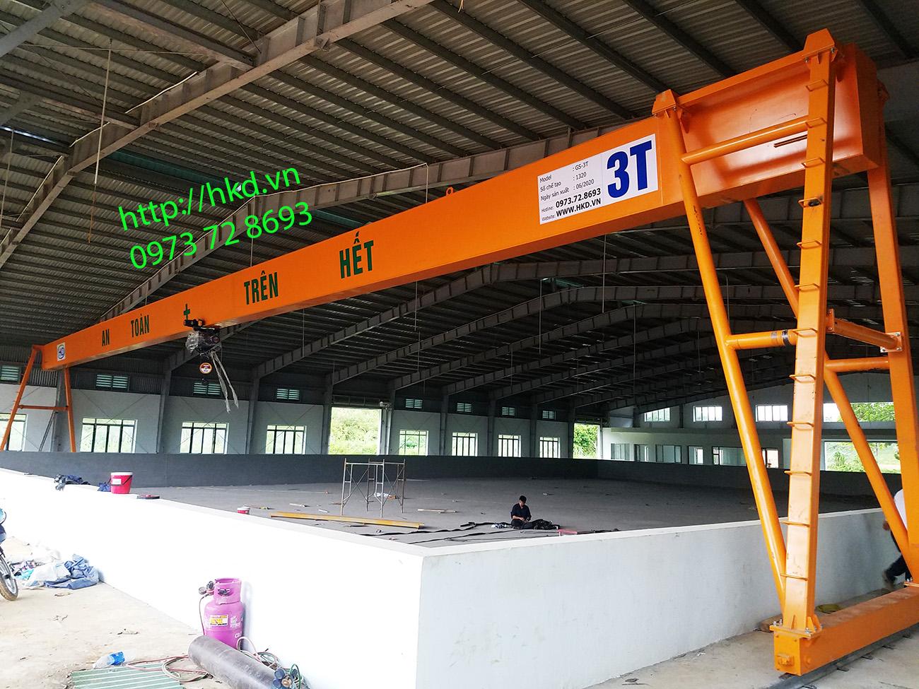 Cổng trục dầm đơn 3 tấn khẩu độ khung long 34m